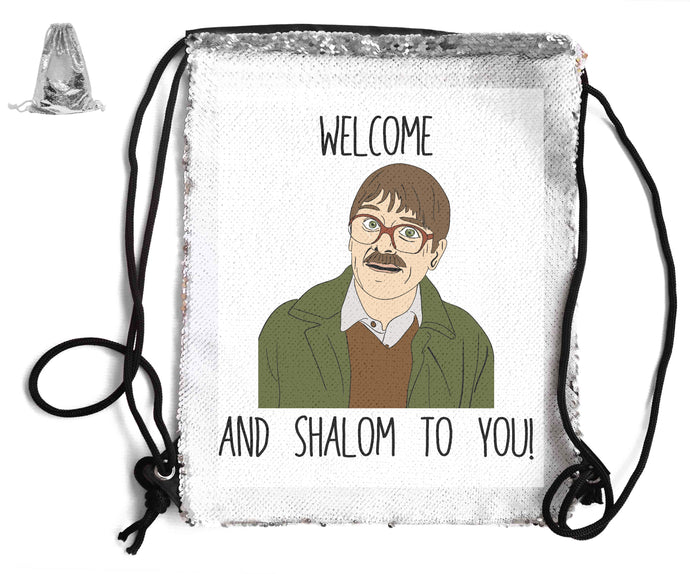 WELCOME AND SHALOM SEQUIN SPORTS BAG Sequin Bags BanterKing Silver 1 BAG