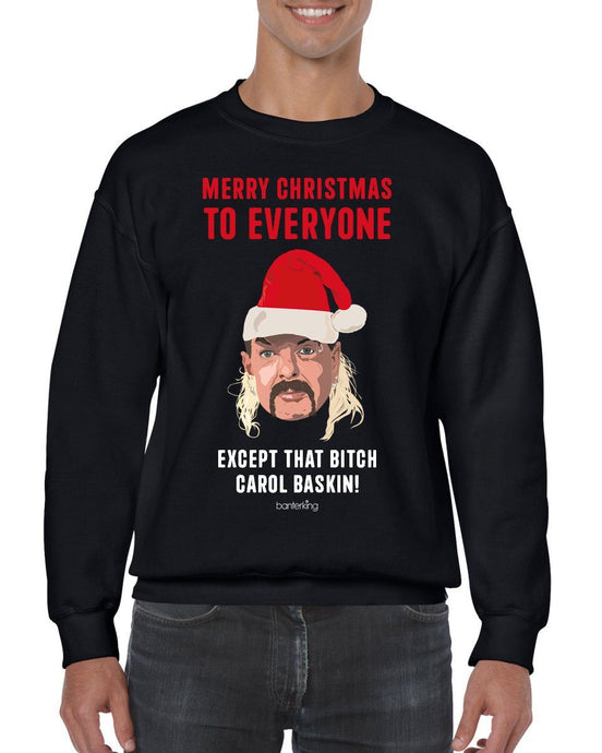 Except that B*tch Baskin Christmas Jumper Jumper BanterKing SMALL BLACK
