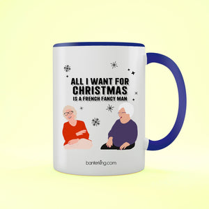 Fancy Frecnh Man Goggle Box, Two Toned 11oz Mug (Second) Mug BanterKing Blue