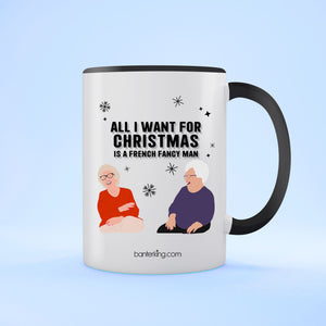 Fancy Frecnh Man Goggle Box, Two Toned 11oz Mug (Second) Mug BanterKing Black