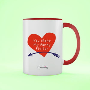 Fanny Flutter Valentine's Two Toned 11oz Mug Mug Inkthreadable Red