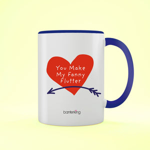 Fanny Flutter Valentine's Two Toned 11oz Mug Mug Inkthreadable Blue