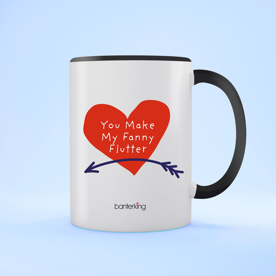 Fanny Flutter Valentine's Two Toned 11oz Mug Mug Inkthreadable Black