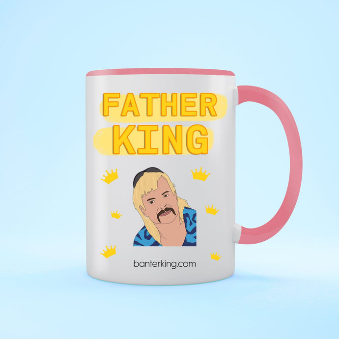 Father King Two Toned 11oz Farther's Day Mug Mug BanterKing Pink 1 MUG