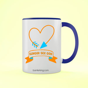 Ginger Sex God Two Toned Large 11oz Banter Mug Mug BanterKing Blue