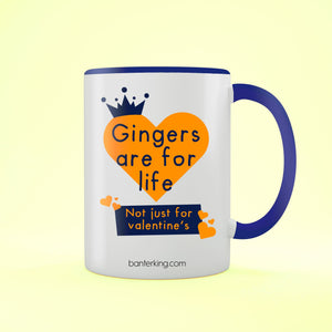 GINGERS ARE FOR LIFE VALENTINE'S TWO TONED LARGE 11 OZ BANTER MUG Mug BanterKing Blue 1 MUG