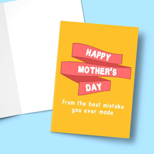 "Happy Mother's Day From The Best Mistake You Ever Made Mother's Day Card Stationery Prodigi 5""x7"" 1 Card"