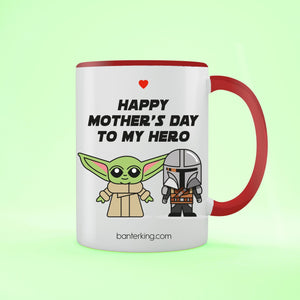 Happy Mother's Day To My Hero Two Toned Large 11oz Mother's Day Mug Mug Inkthreadable Red