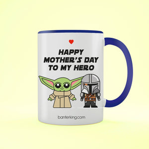Happy Mother's Day To My Hero Two Toned Large 11oz Mother's Day Mug Mug Inkthreadable Blue