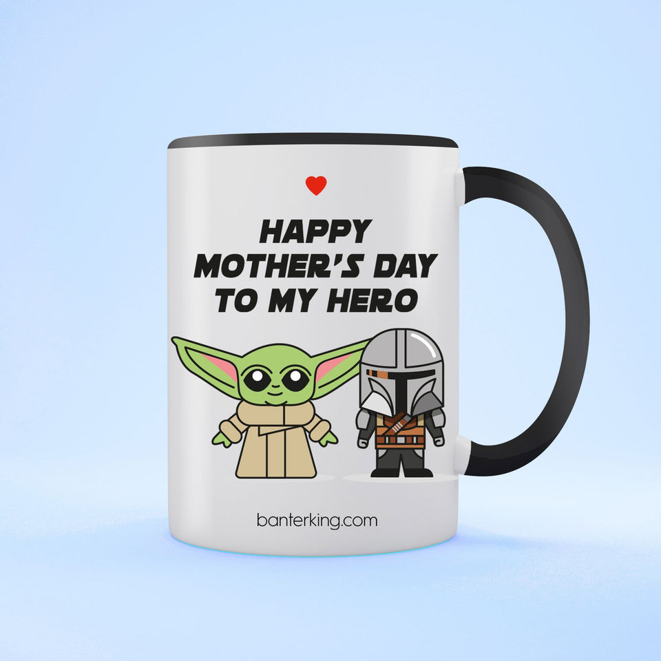 Happy Mother's Day To My Hero Two Toned Large 11oz Mother's Day Mug Mug Inkthreadable Black