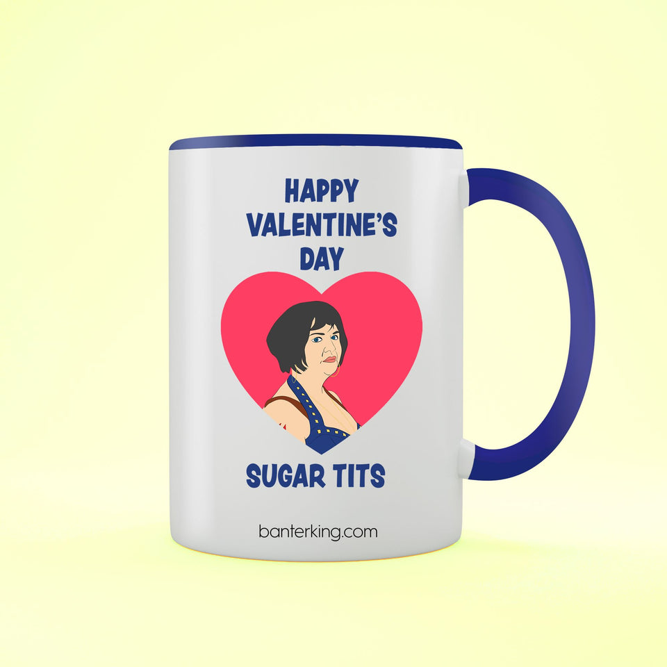 HAPPY VALENTINE'S SUGAR TITS TWO TONED LARGE 11 OZ BANTER MUG Mug BanterKing Blue 1 MUG