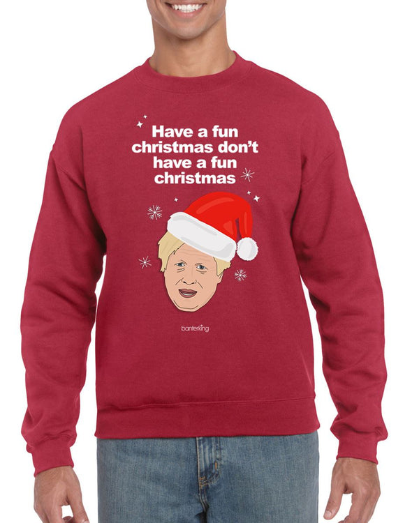 Have A Fun Christmas, Christmas Jumper (Unisex) Jumper BanterKing Small Grey