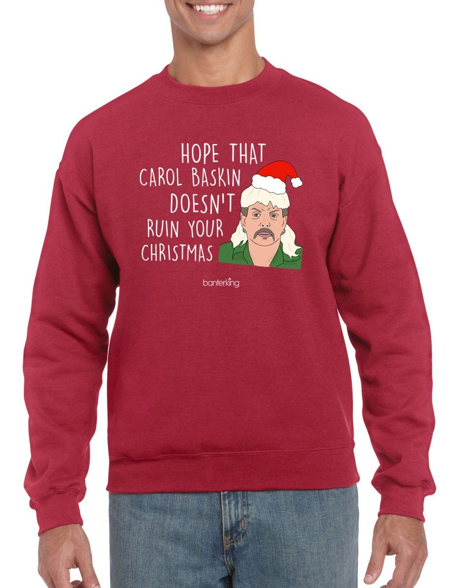 Hope She Doesn't Ruin Xmas, Christmas Jumper Jumper BanterKing SMALL RED