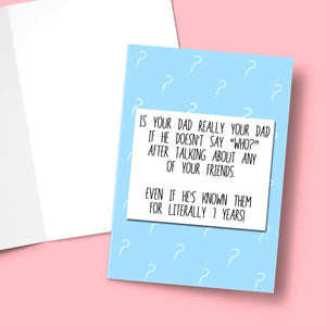 "Is Your Dad Really Your Dad Stationery Prodigi 5""x7"" 1 Card"