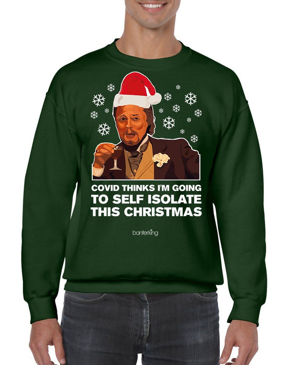 Laughing Leo Christmas Jumper (Unisex) Jumper BanterKing SMALL Grey