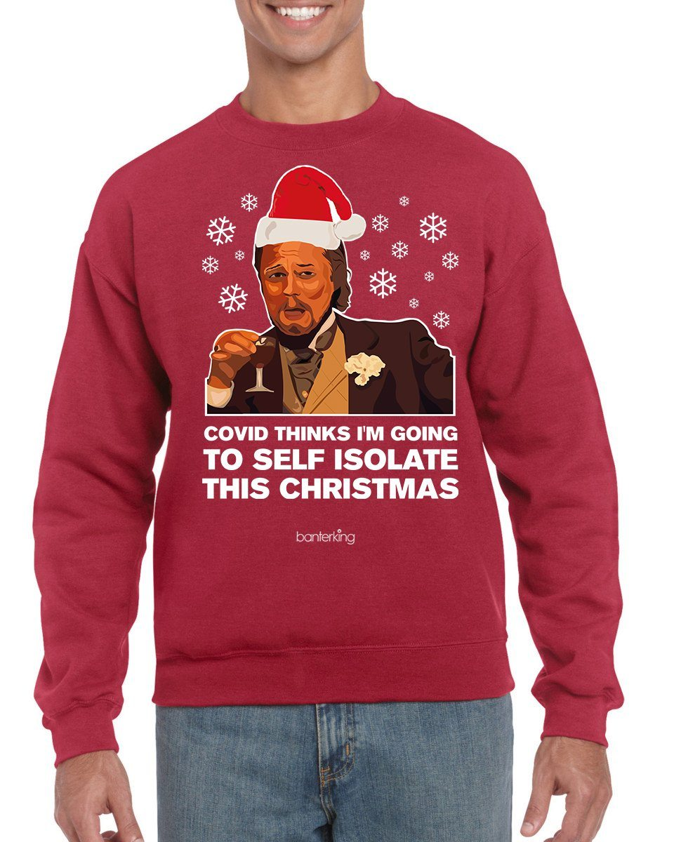 Laughing Leo Christmas Jumper (Unisex) Jumper BanterKing SMALL Red