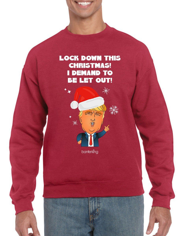Let Me Out, Christmas Jumper (Unisex) Jumper BanterKing Small Red