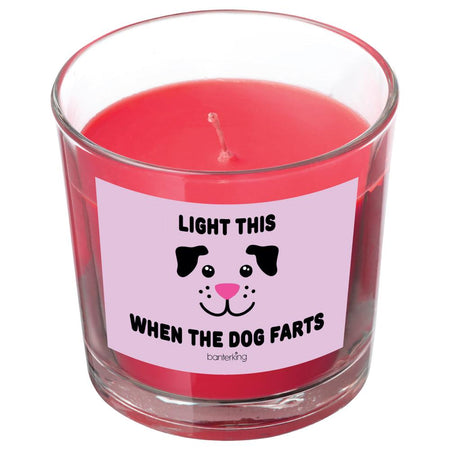 LIGHT THIS WHE THE DOG FARTS CANDLE BanterKing Red/Raspberry