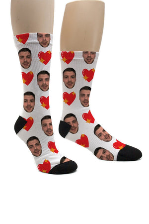 (ADD ANY FACE) MAKE YOUR OWN HEART SOCKS BanterKing
