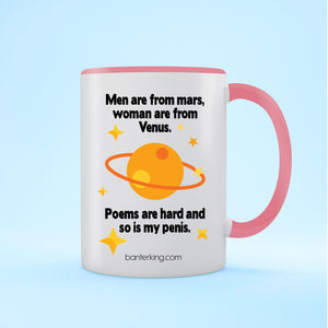 MEN ARE FROM TWO TONED LARGE 11 OZ BANTER MUG Mug BanterKing Pink 1 MUG