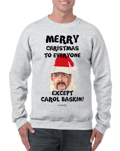 Merry Christmas Except Carol (None Sweary) Christmas Jumper Jumper BanterKing SMALL GREY