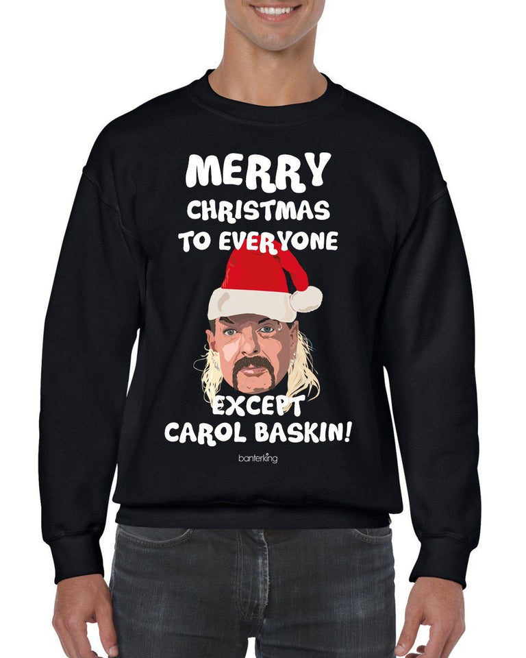 Merry Christmas Except Carol (None Sweary) Christmas Jumper Jumper BanterKing SMALL BLACK