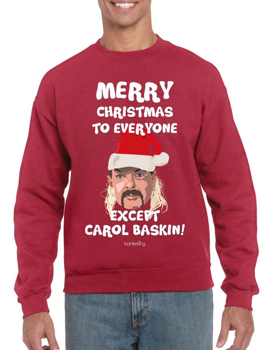 Merry Christmas Except Carol (None Sweary) Christmas Jumper Jumper BanterKing SMALL RED