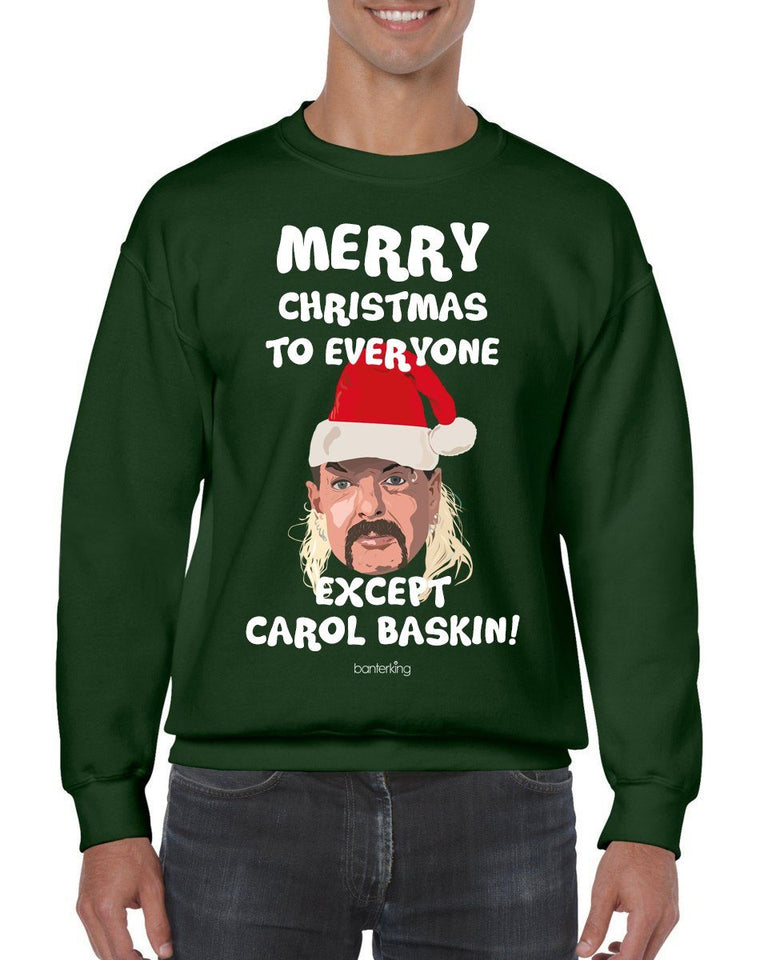 Merry Christmas Except Carol (None Sweary) Christmas Jumper Jumper BanterKing SMALL GREEN