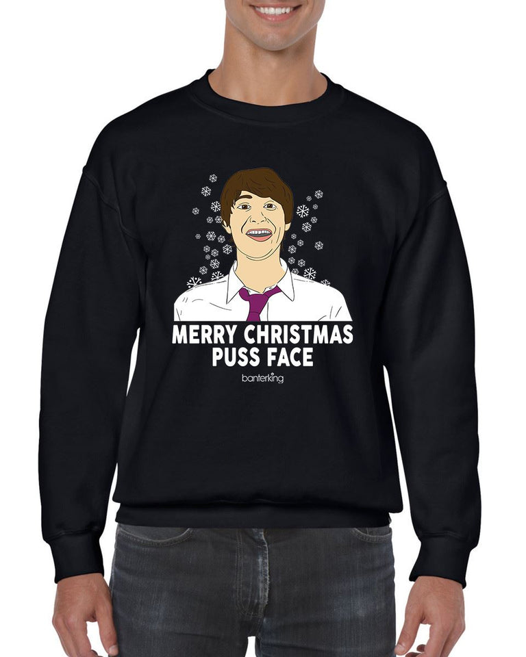 MERRY CHRISTMAS PUSS FACE CHRISTMAS JUMPER Jumper BanterKing SMALL BLACK 1 JUMPER