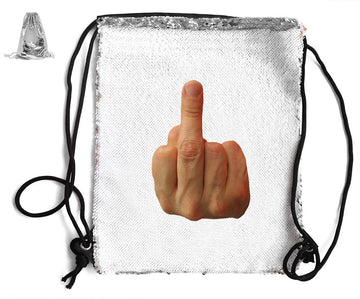 MIDDLE FINGER SEQUIN SPORTS BAG Sequin Bags BanterKing Silver 1 BAG