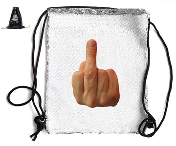 MIDDLE FINGER SEQUIN SPORTS BAG