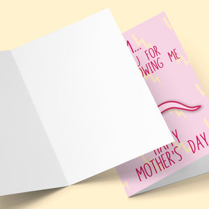 Mum Thank You For Not Swallowing Me Mother's Day Greeting Card Stationery Prodigi
