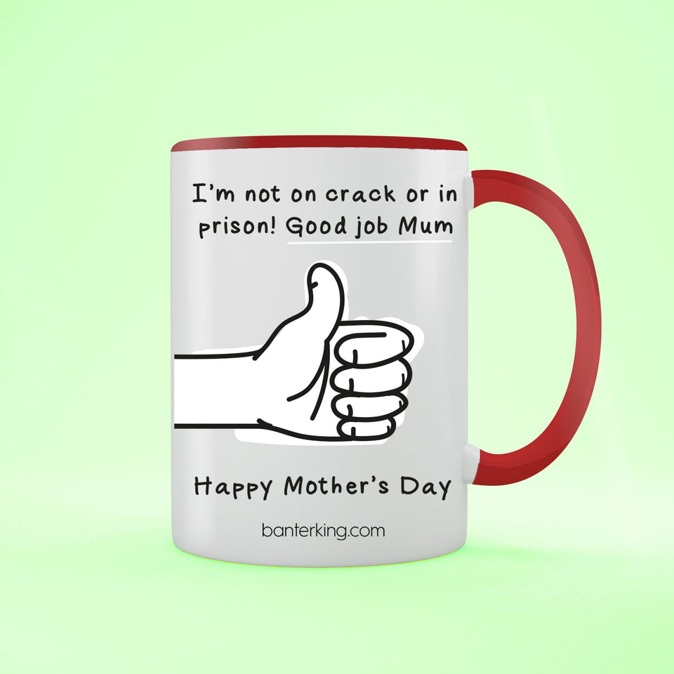 Not On Crack Or In Prison Good Job Mother's Day Two Toned Large 11oz Mug Mug Inkthreadable Red
