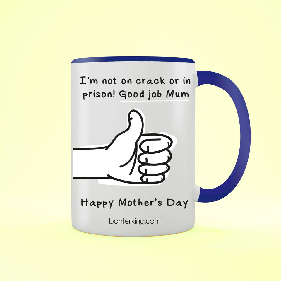 Not On Crack Or In Prison Good Job Mother's Day Two Toned Large 11oz Mug Mug Inkthreadable Blue