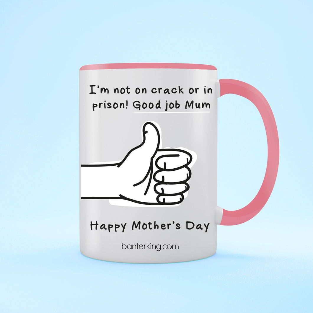 Not On Crack Or In Prison Good Job Mother's Day Two Toned Large 11oz Mug Mug Inkthreadable Pink