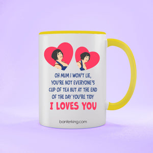 Oh Mum I Won't Lie Two Toned large 11 oz Banter Mug Mug BanterKing Yellow 1 MUG