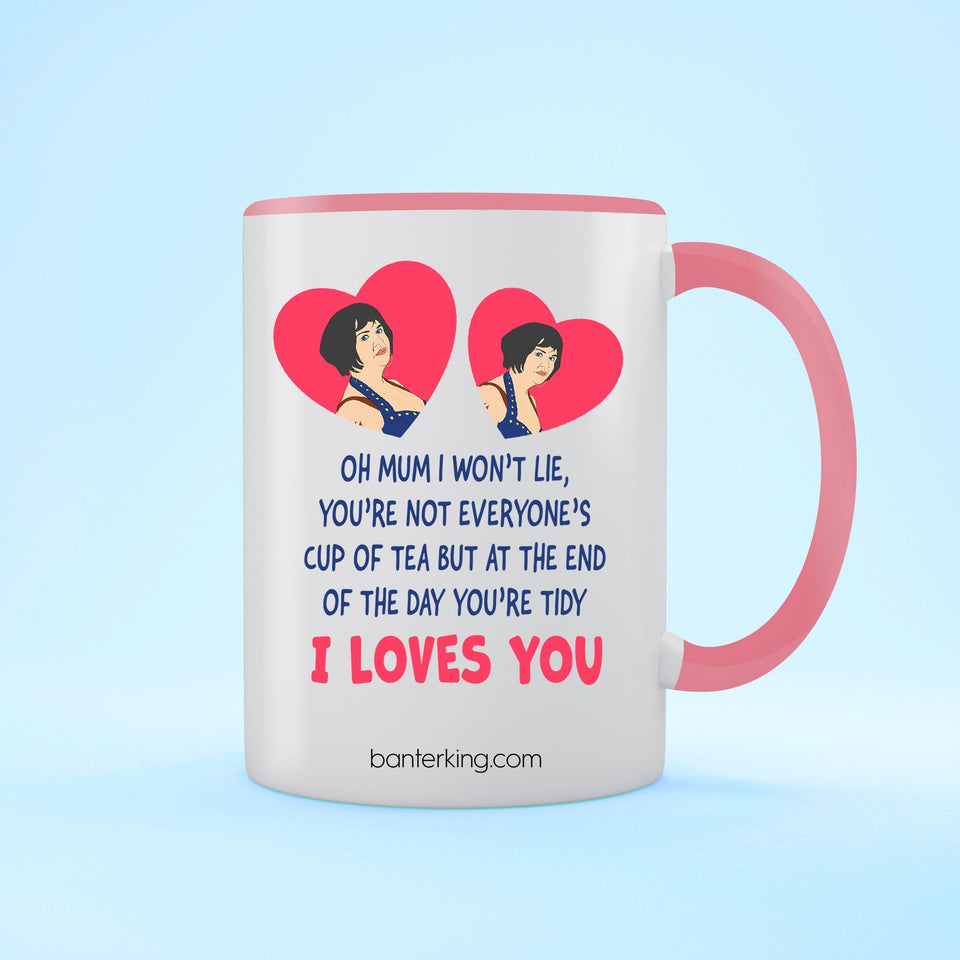 Oh Mum I Won't Lie Two Toned large 11 oz Mother's Day Mug Mug BanterKing Pink 1 MUG