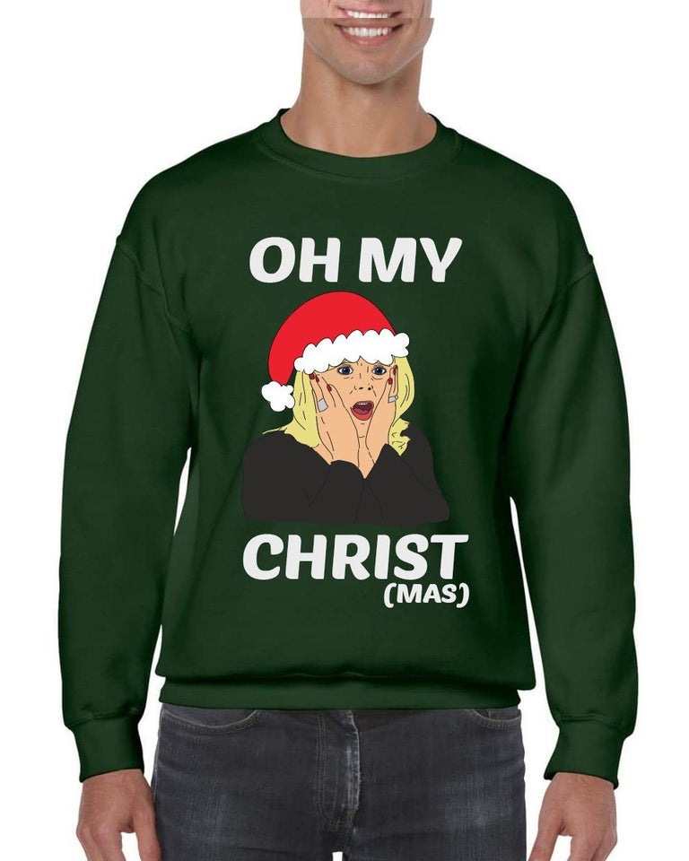 OH MY CHRIST CHRISTMAS JUMPER Jumper BanterKing SMALL GREEN 1 JUMPER