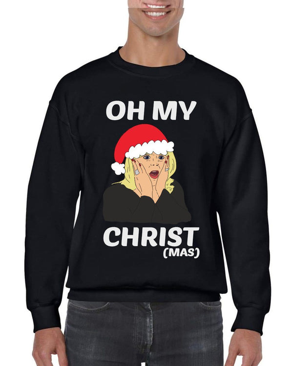 OH MY CHRIST CHRISTMAS JUMPER Jumper BanterKing SMALL GREY 1 JUMPER