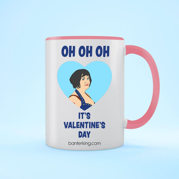 OH OH OH IT'S VALENTINE'S TWO TONED LARGE 11 OZ BANTER MUG Mug BanterKing Pink 1 MUG