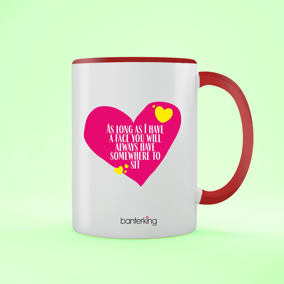 Place To Sit, Valentine's Two Toned 11oz Mug Mug Inkthreadable Red