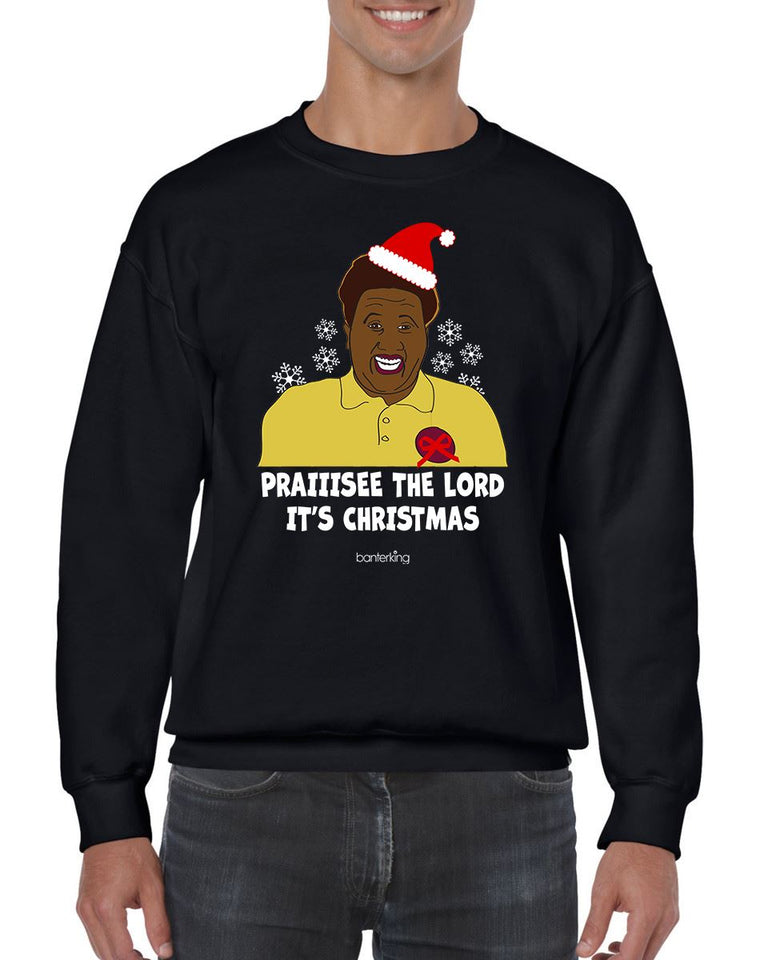 PRAIIISEEE THE LORD IT'S CHRISTMAS CHRISTMAS JUMPER Jumper BanterKing SMALL BLACK 1 JUMPER