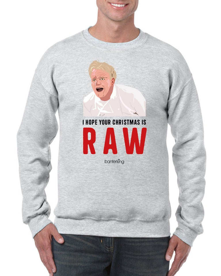 Raw Christmas, Christmas Jumper Jumper BanterKing SMALL GREY