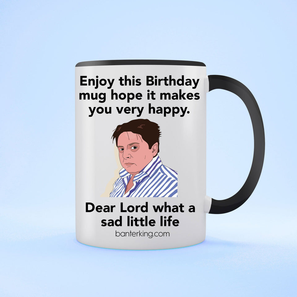 Sad Little Birthday Two Toned Large 11oz Mug Mug Inkthreadable Black