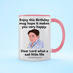 Sad Little Birthday Two Toned Large 11oz Mug Mug Inkthreadable Pink