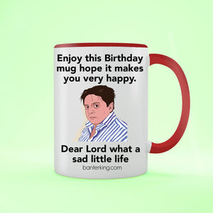 Sad Little Birthday Two Toned Large 11oz Mug Mug Inkthreadable Red