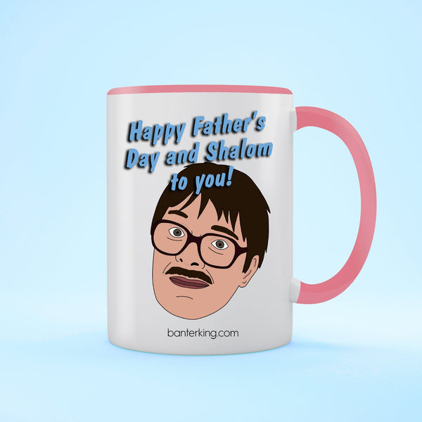 Shalom Two Toned 11oz Farther's Day Mug Mug BanterKing Pink 1 MUG