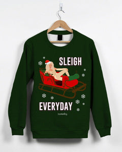 Sleigh Everyday, Christmas Jumper (Unisex) (Ru Paul) Jumper BanterKing Small Red