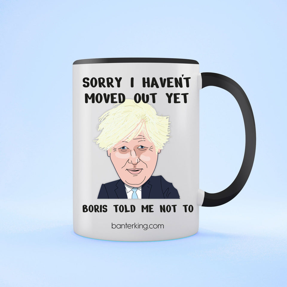 Sorry I Haven't Moved Out, Boris Mother's Day Mug Mug Inkthreadable Black