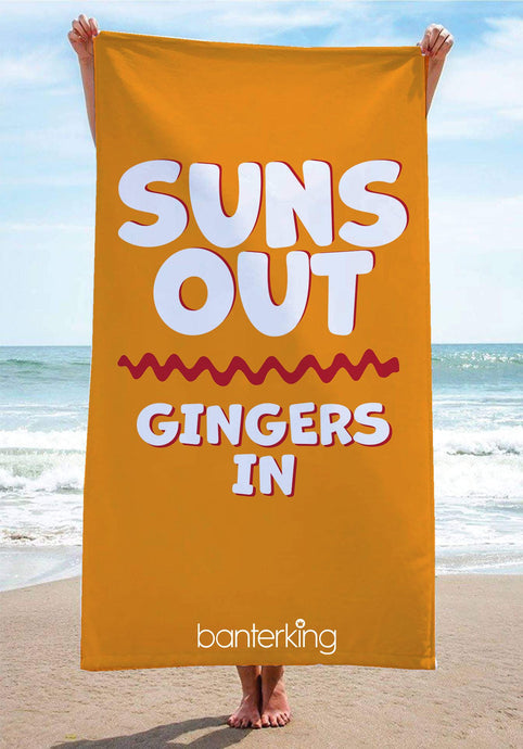 Suns Out Gingers In Beach Towel towels BanterKing 1 TOWEL